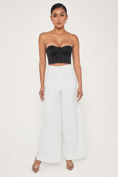 Hatton High Waisted Wide Leg Pants - White