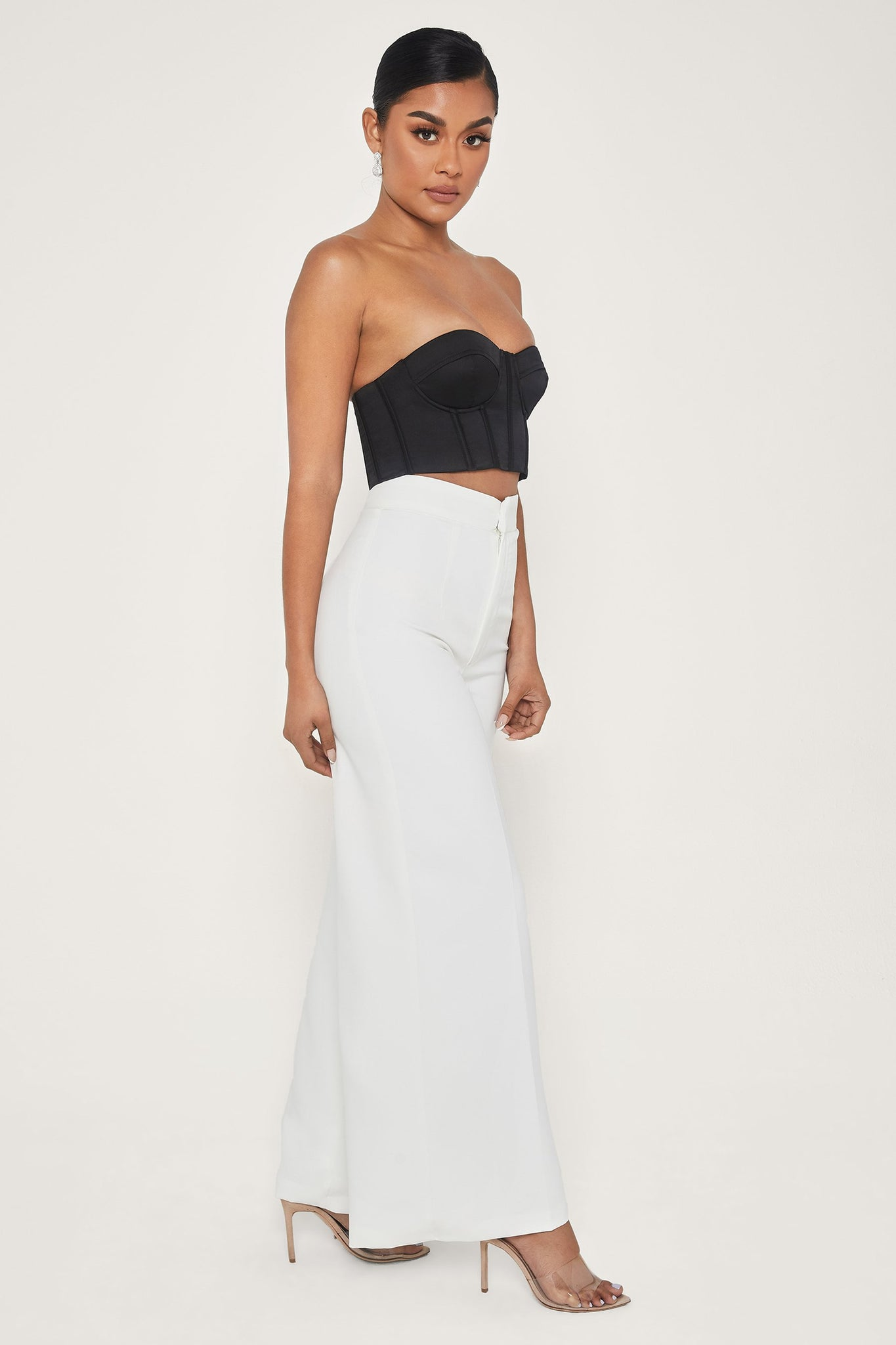 Hatton High Waisted Wide Leg Pants - White - MESHKI
