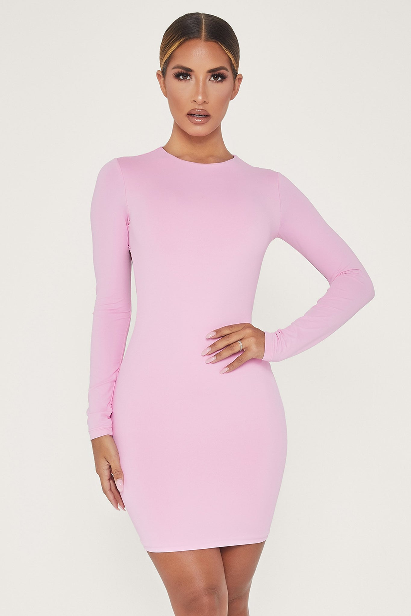 Rayne Long Sleeve Mini Dress - Pink - MESHKI