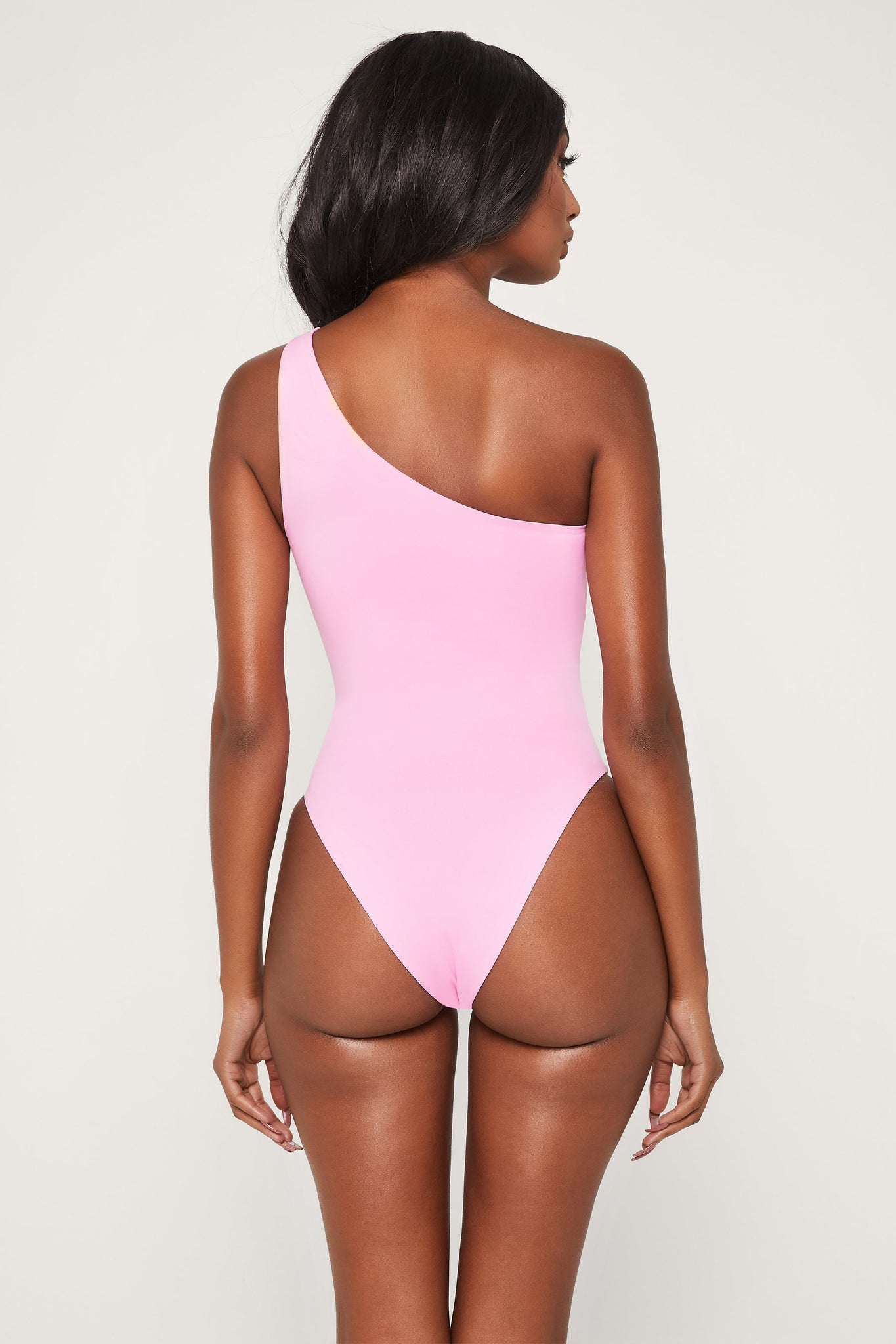 Freya Reversible One Shoulder Swimsuit - Pink - MESHKI