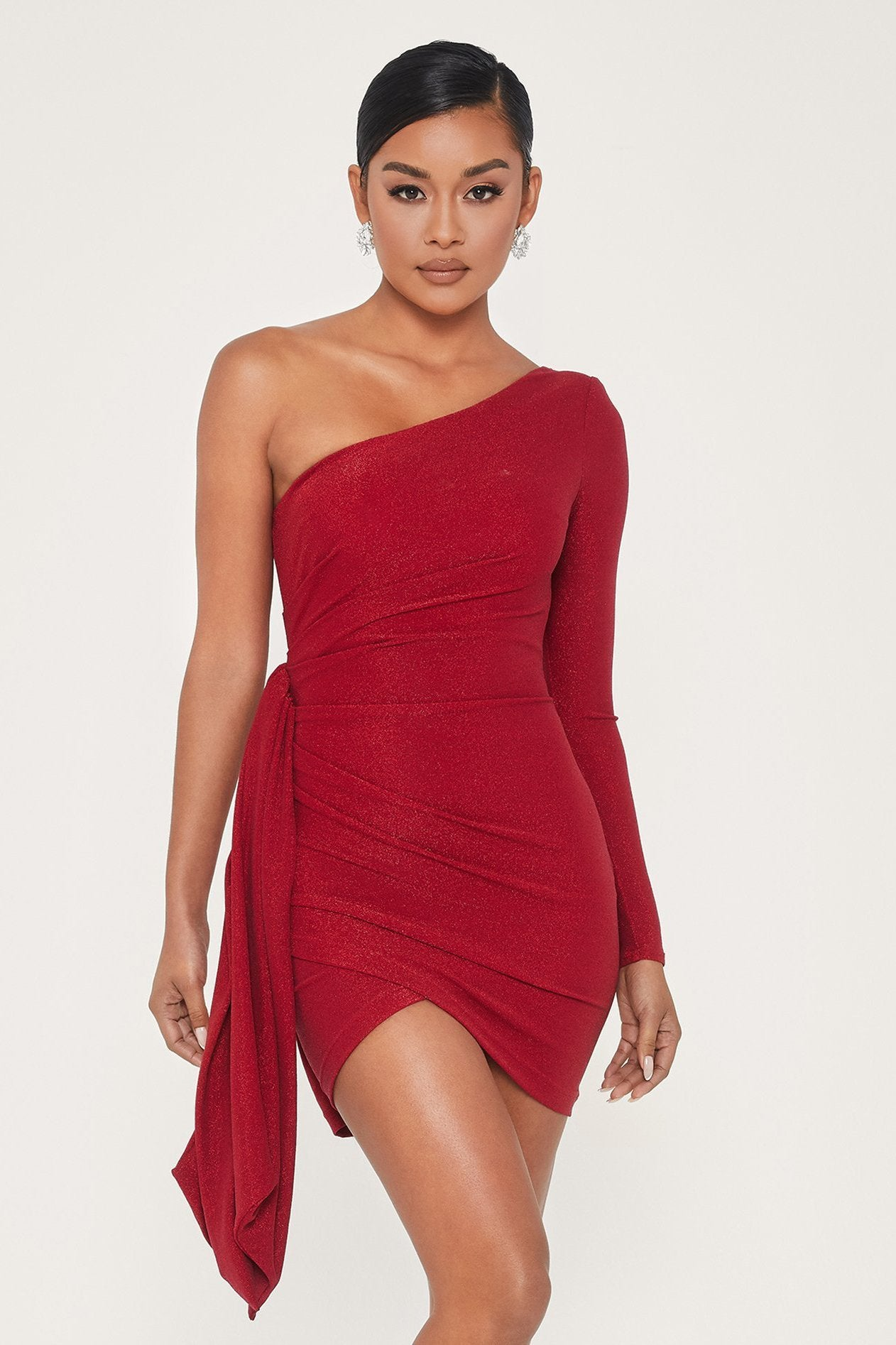 Alessia One Shoulder Ruched Long Sleeve Mini Dress - Red - MESHKI