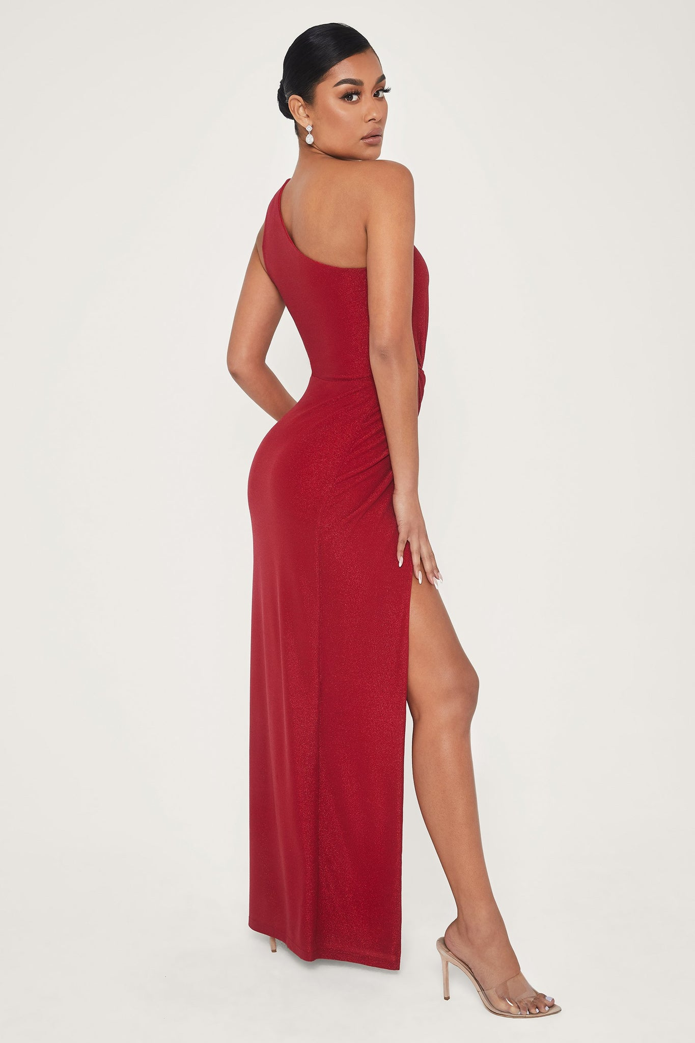 Hattie One Shoulder High Slit Shimmer Maxi Dress - Red - MESHKI