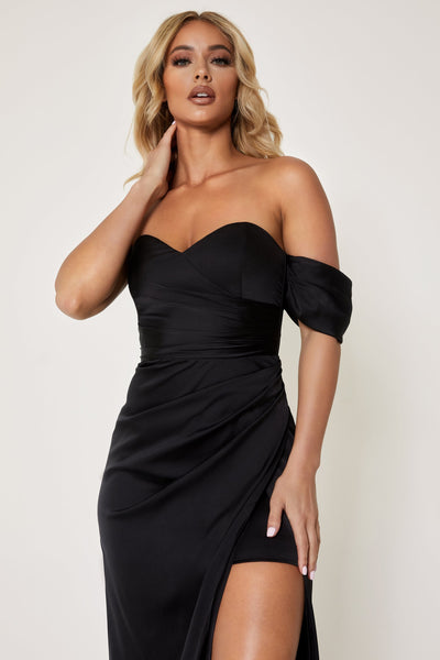 Elodie Sweet Heart Drape Shoulder Maxi Dress - Black