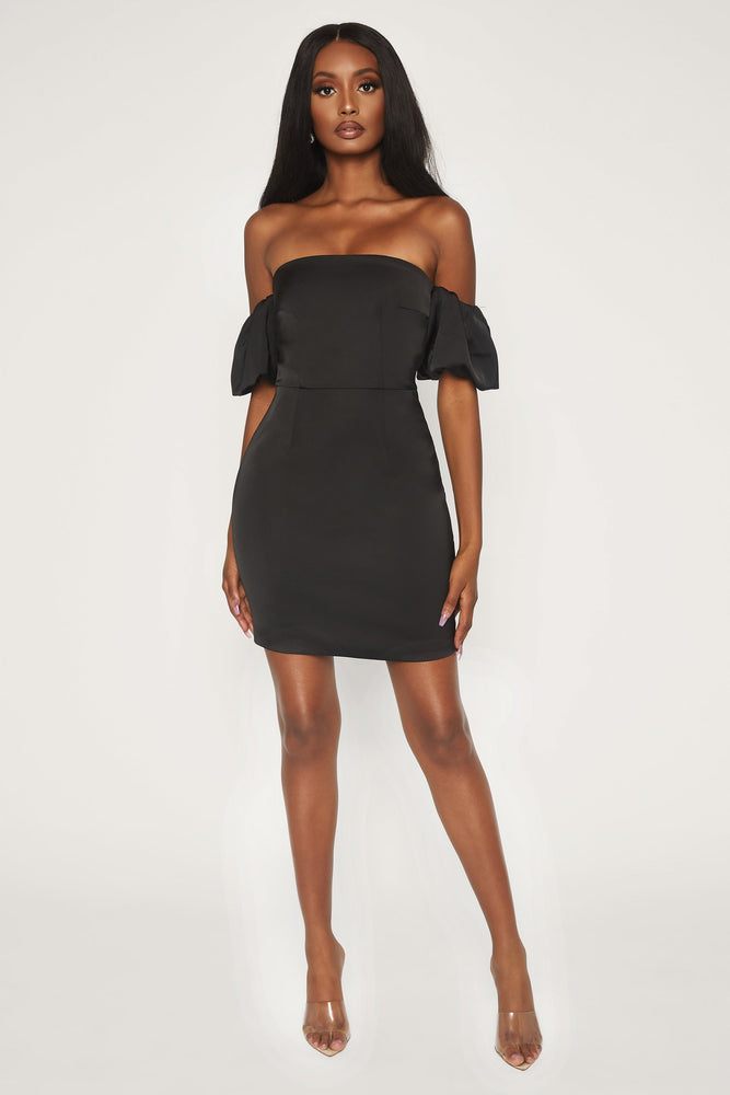 Amberley Puff Sleeve Mini Dress - Black - MESHKI