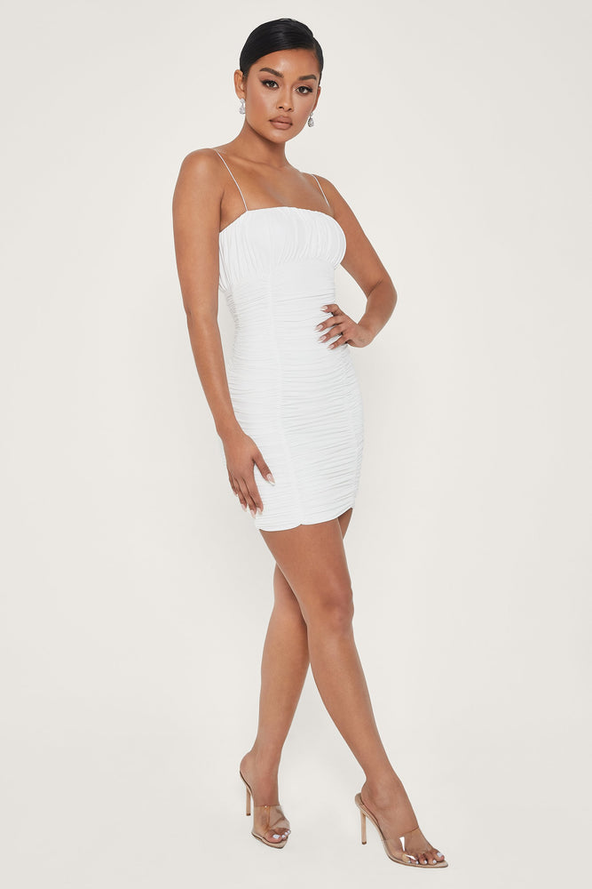 Celena Ruched Thin Strap Mini Dress - White - MESHKI