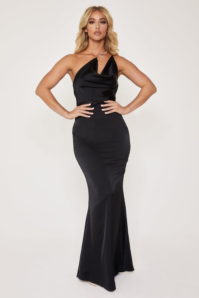 Lena One Shoulder Drape Diamante Strap Gown - Black - MESHKI
