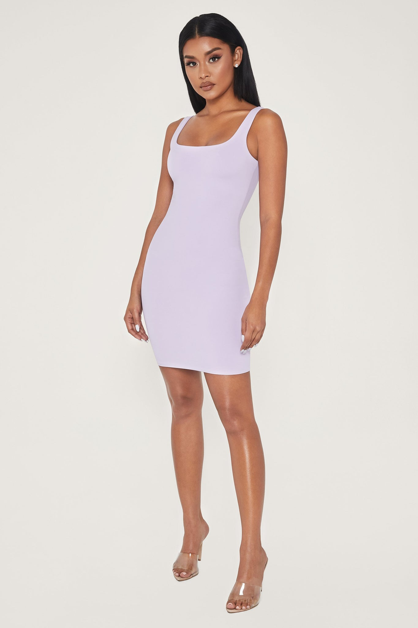 Estelle Thick Strap Square Neck Mini Dress - Lilac - MESHKI