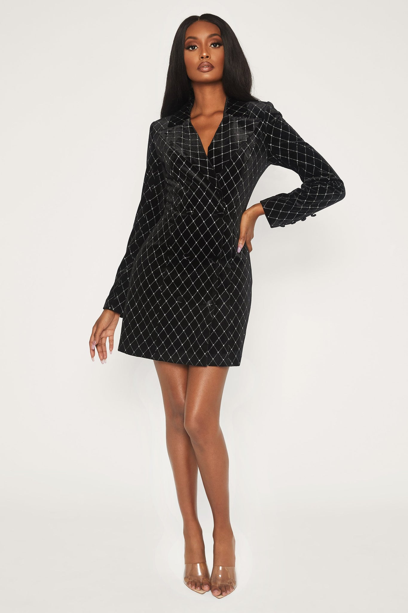 Lona Velvet Double Breasted Blazer Dress - Black - MESHKI