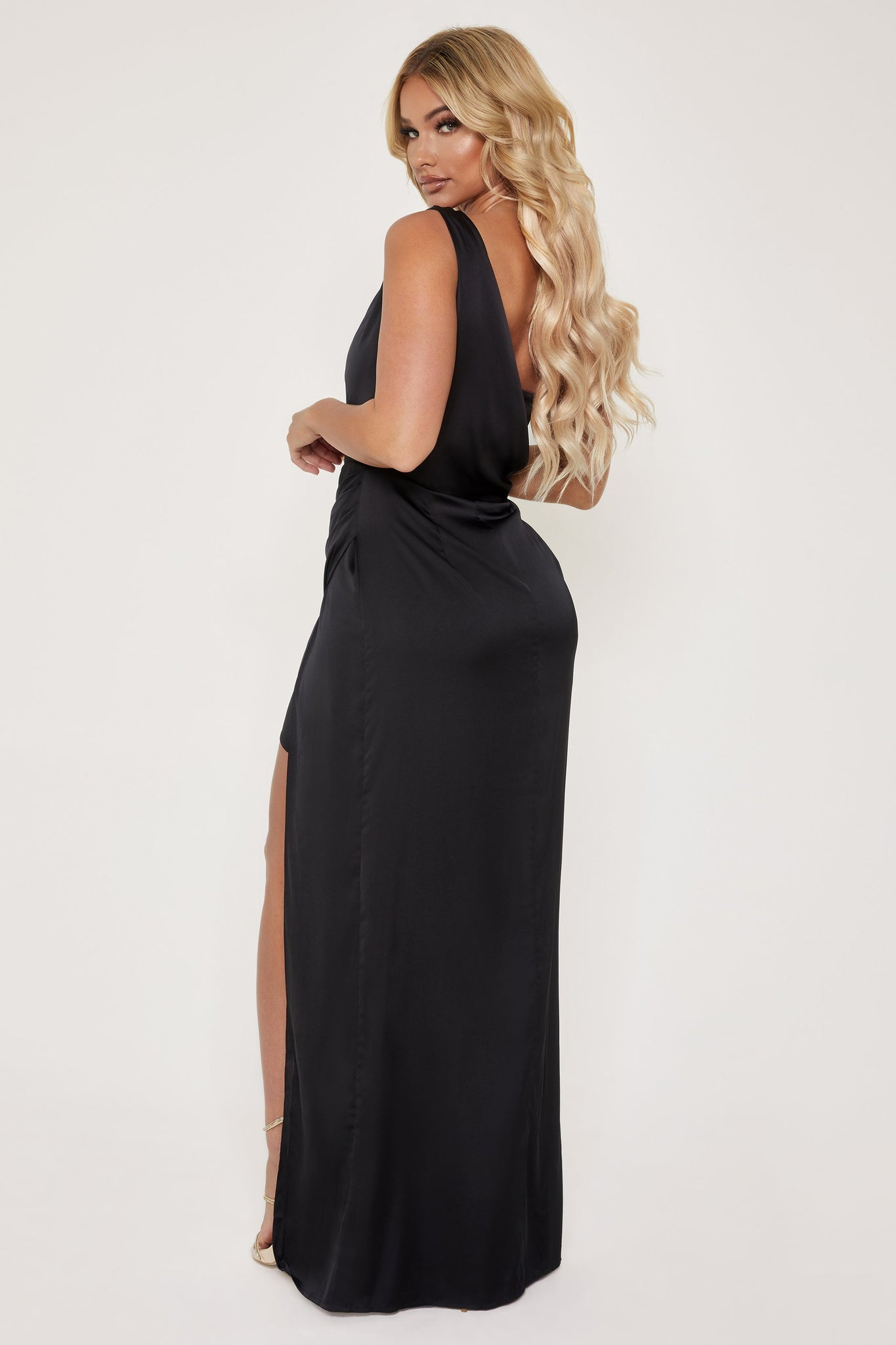 Aella Corsetted Asymmetric Drape Maxi Dress - Black - MESHKI
