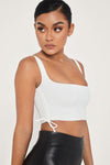 Mina Ruched Side Top - White