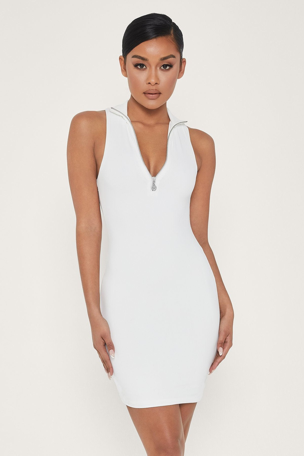 Fiona Sleeveless Zip Front Mini Dress - White - MESHKI