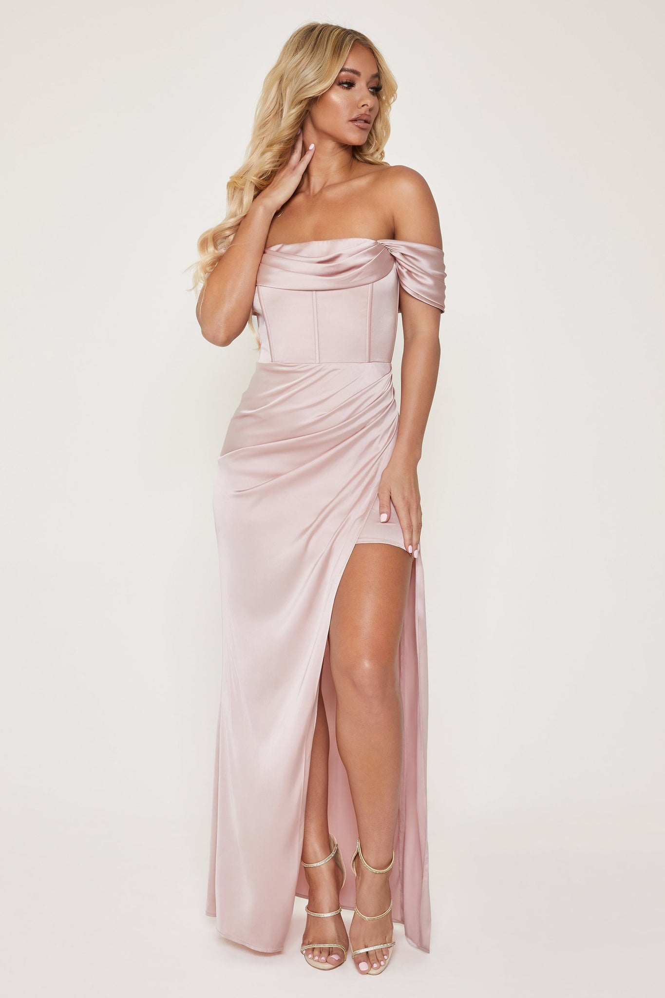 Neo Corsetted Drape Off Shoulder Maxi Dress - Dusty Pink - MESHKI