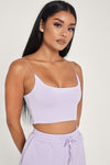 Kaiya Thin Strap Scoop Neck Crop Top - White