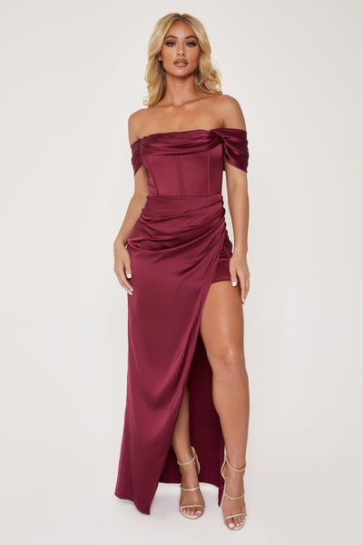 Neo Corsetted Drape Off Shoulder Maxi Dress - Burgundy