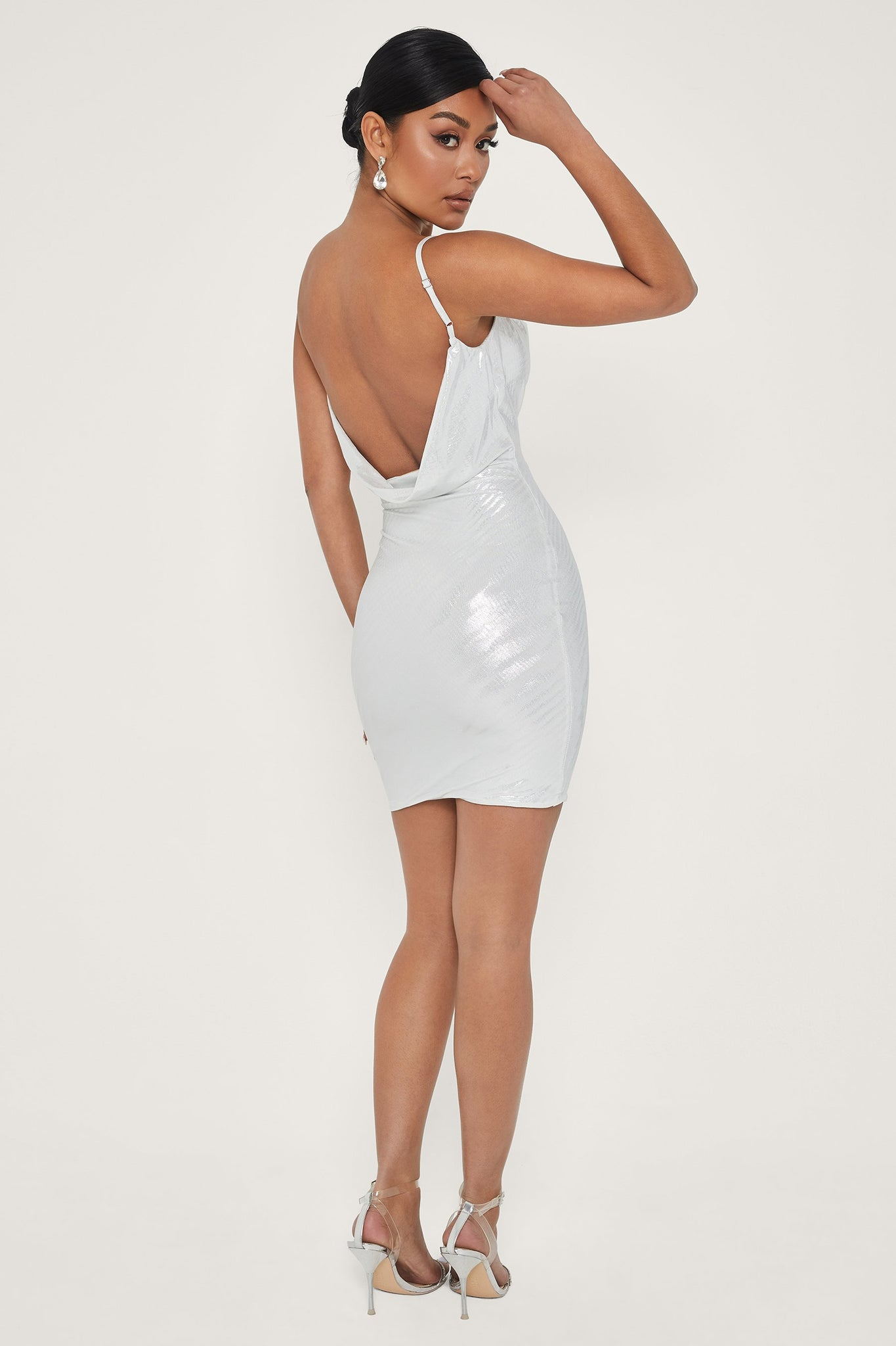 Kalia Cowl Neck Mini Dress - Silver - MESHKI