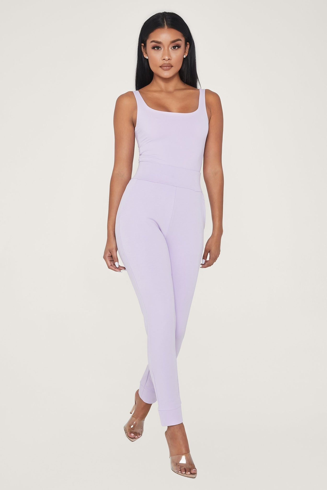 Amelia Fitted High Waisted Joggers - Lilac - MESHKI