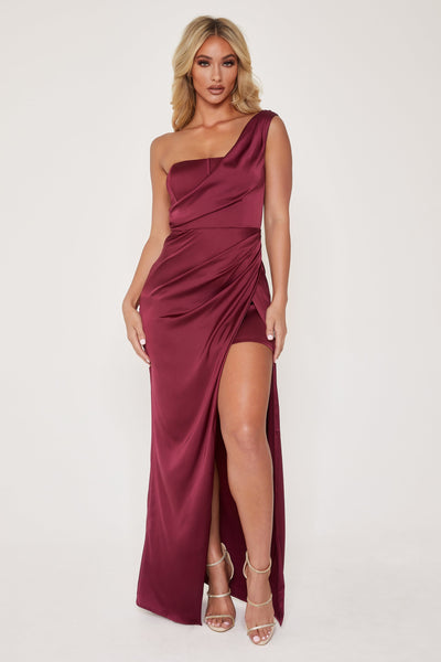 Aella Corsetted Asymmetric Drape Maxi Dress - Burgundy