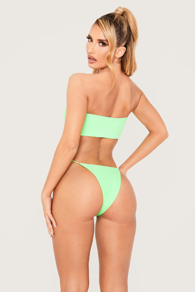 Sydnie Diamante Meshki Logo Bikini Bottom - Lime Green - MESHKI