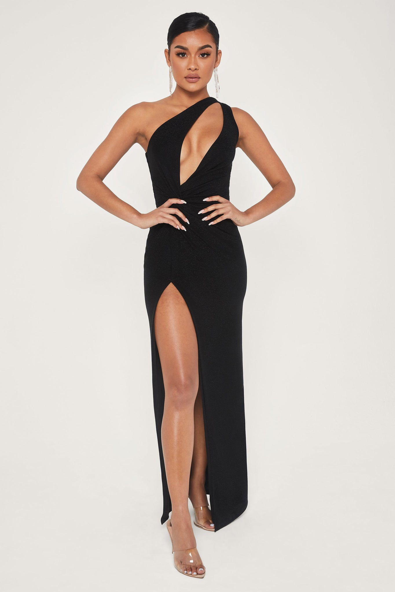 Hattie One Shoulder High Slit Shimmer Maxi Dress - Black - MESHKI