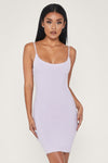 Asha Fluffy Thin Strap Mini Dress - Lilac