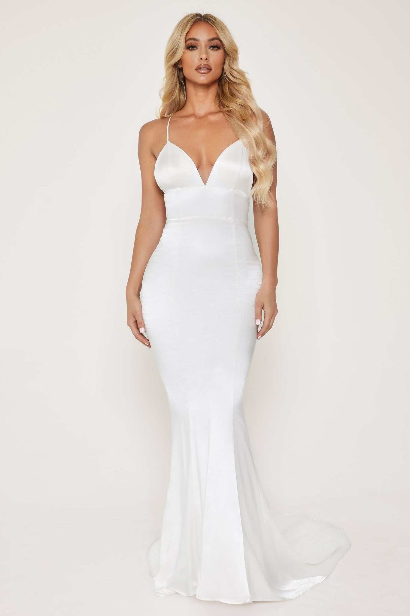 Shellin Low Back Wedding Dress - White - MESHKI