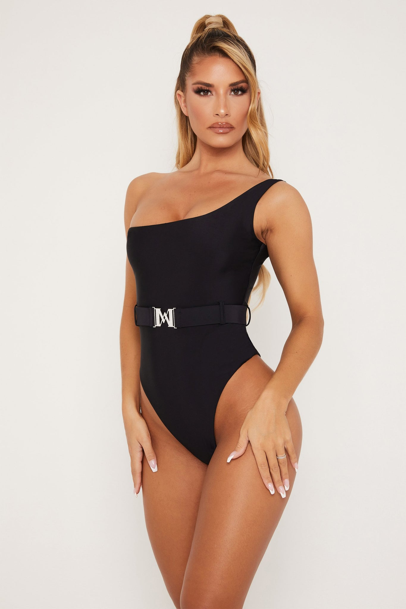 Stormie One shoulder Diamante Buckle One Piece - Black - MESHKI