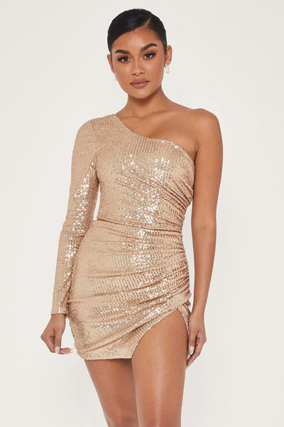 Kirstie One Shoulder Sequin Mini Dress - Gold