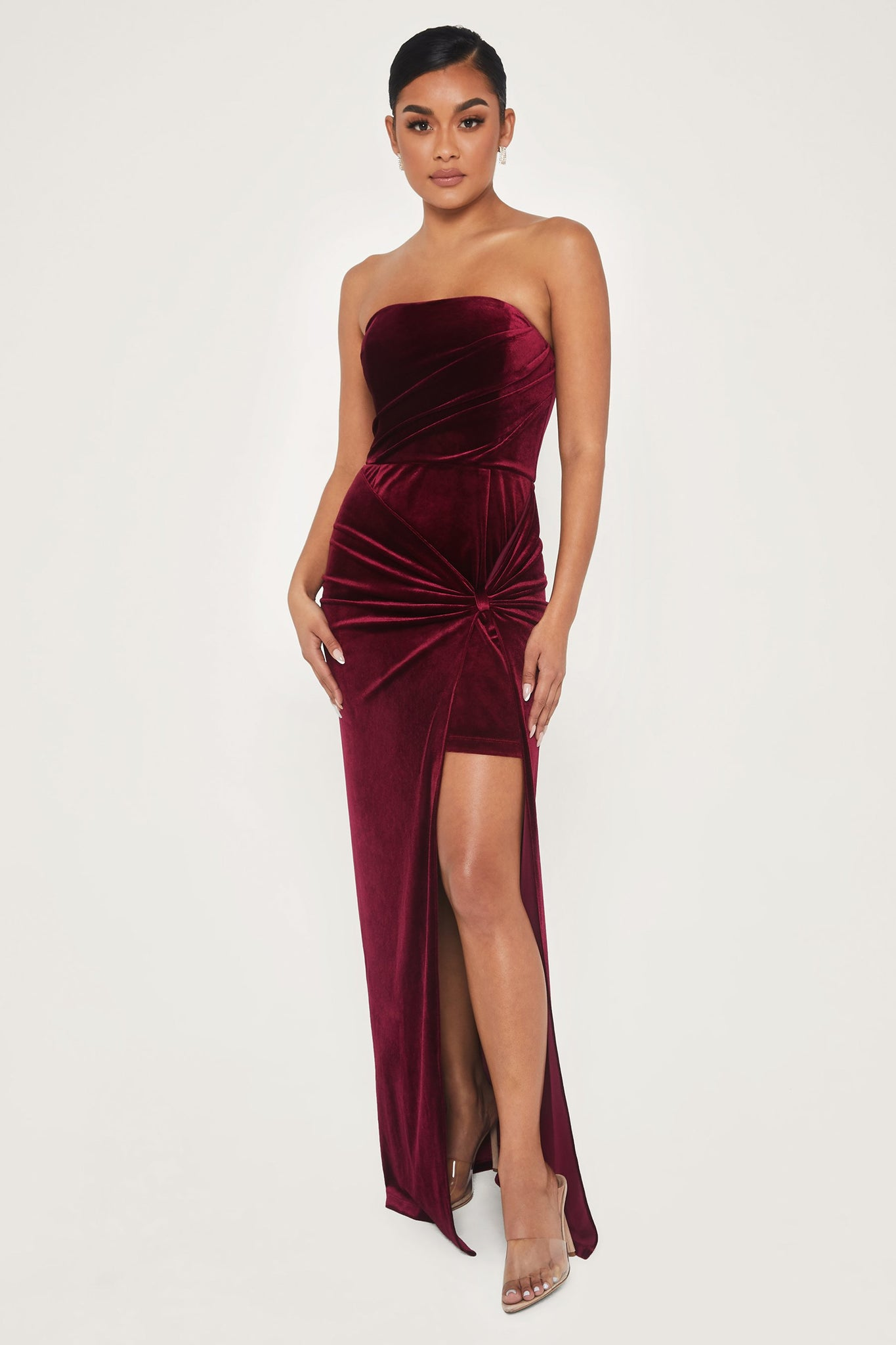 Ressa Strapless High Split Velvet Maxi Dress - Burgundy - MESHKI