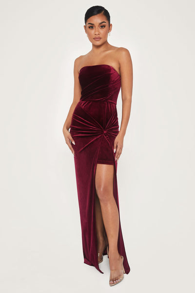 Ressa Strapless High Split Velvet Maxi Dress - Burgundy