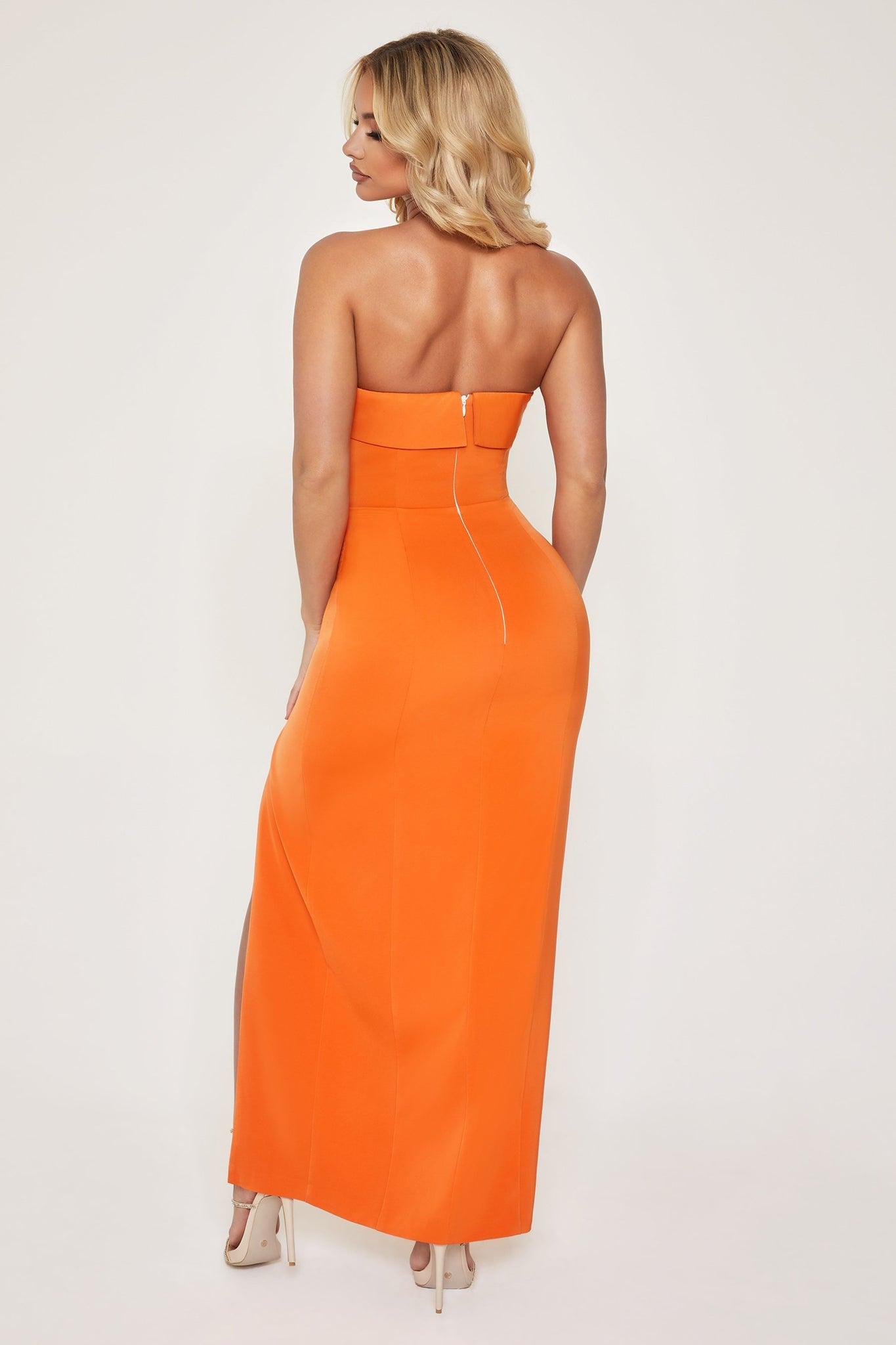Celine Strapless Maxi Dress - Orange - MESHKI