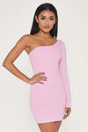Mya One Shoulder Dress - Pink