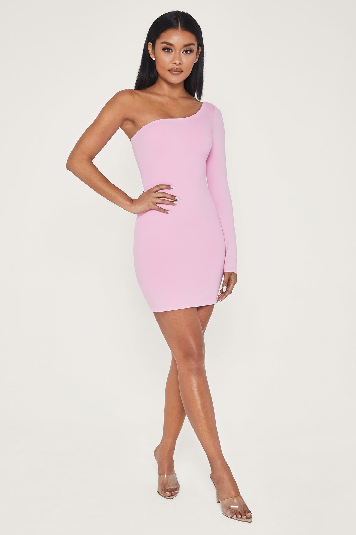 Mya One Shoulder Dress - Pink - MESHKI