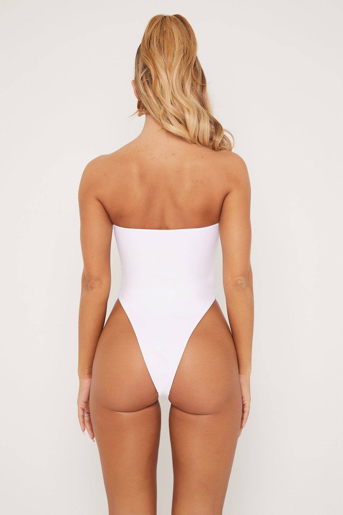 Trisha Strapless Cut Out One Piece - White - MESHKI