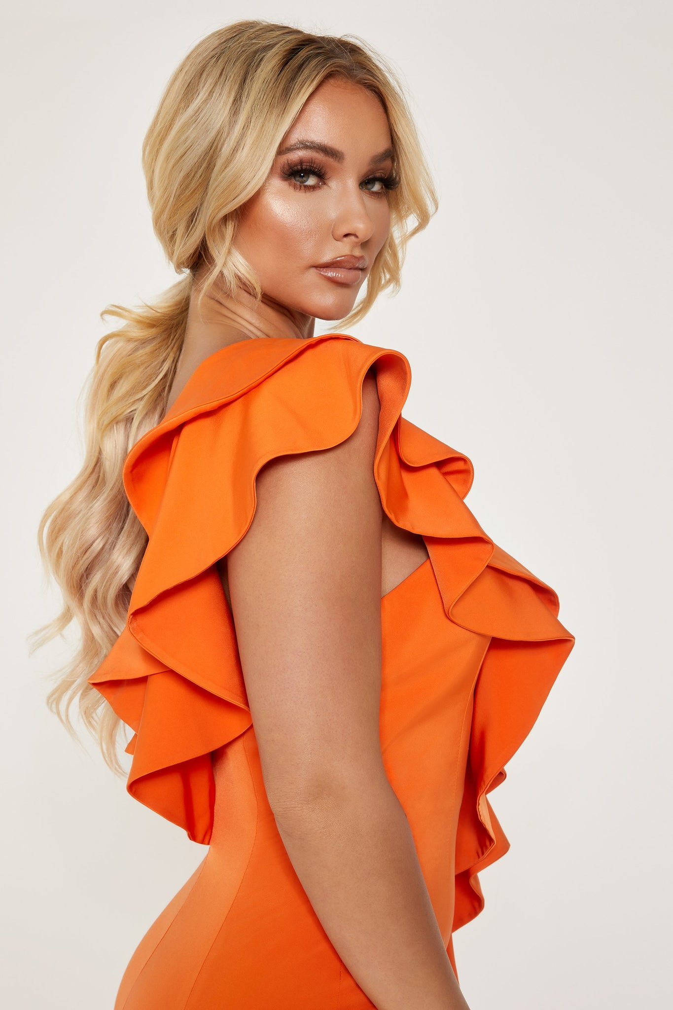 Parker Strapless Asymmetric Frill Mini Dress - Orange - MESHKI