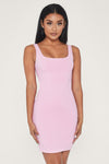 Estelle Thick Strap Square Neck Mini Dress - Pink