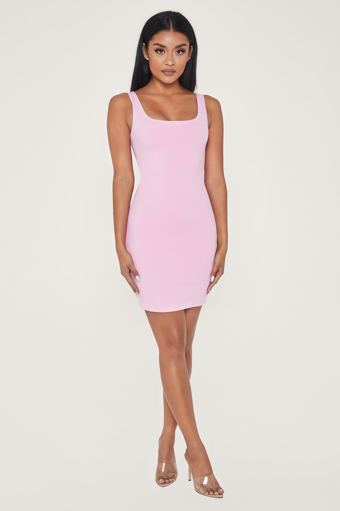 Estelle Thick Strap Square Neck Mini Dress - Pink - MESHKI