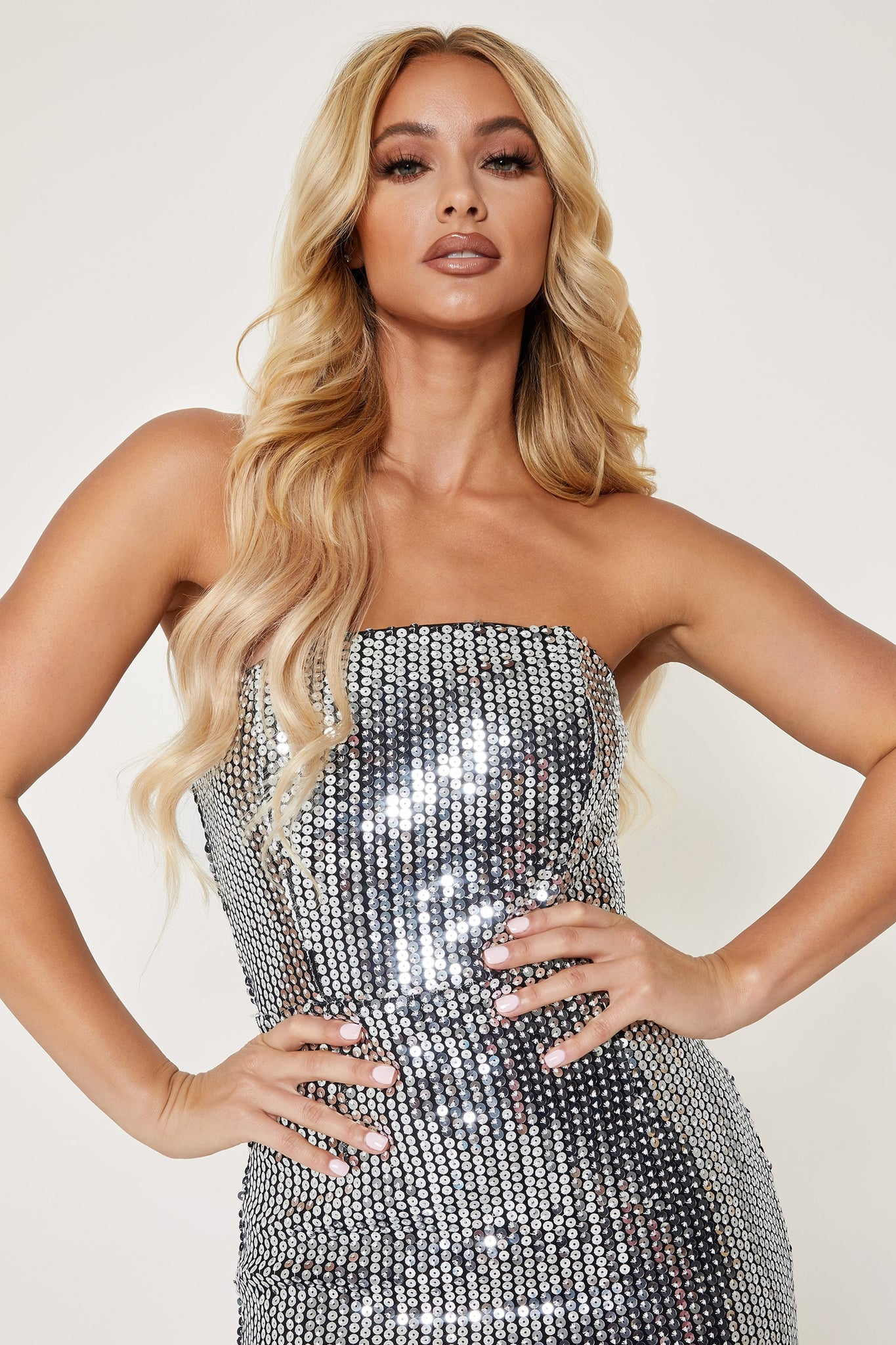 Nikki Mirror Sequin Strapless Dress - Silver - MESHKI