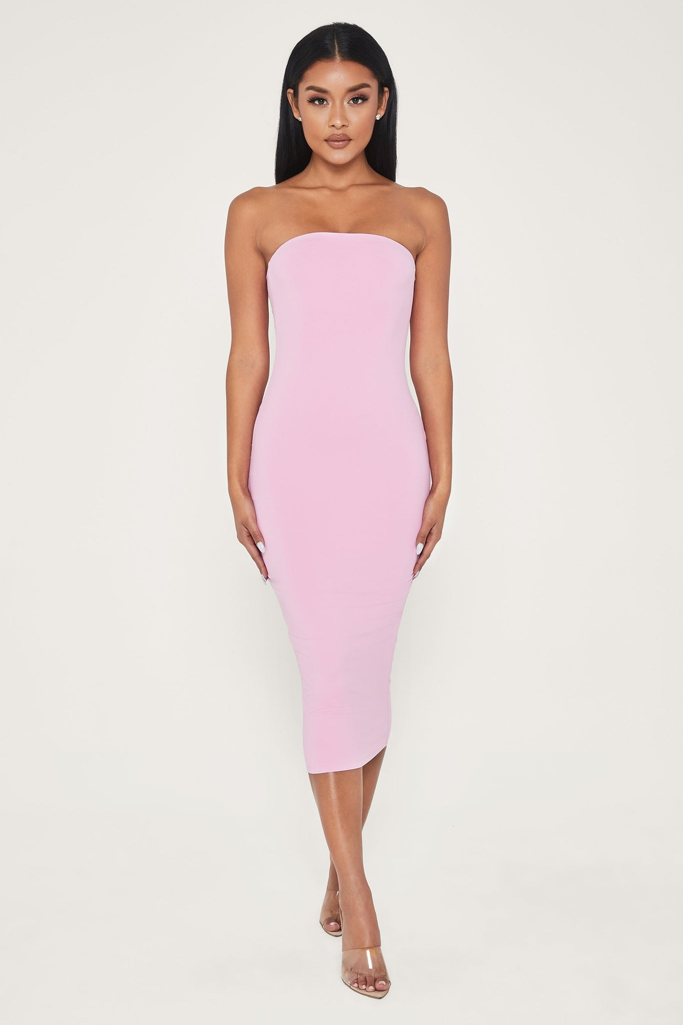 Emilee Strapless Midaxi Dress - Pink - MESHKI