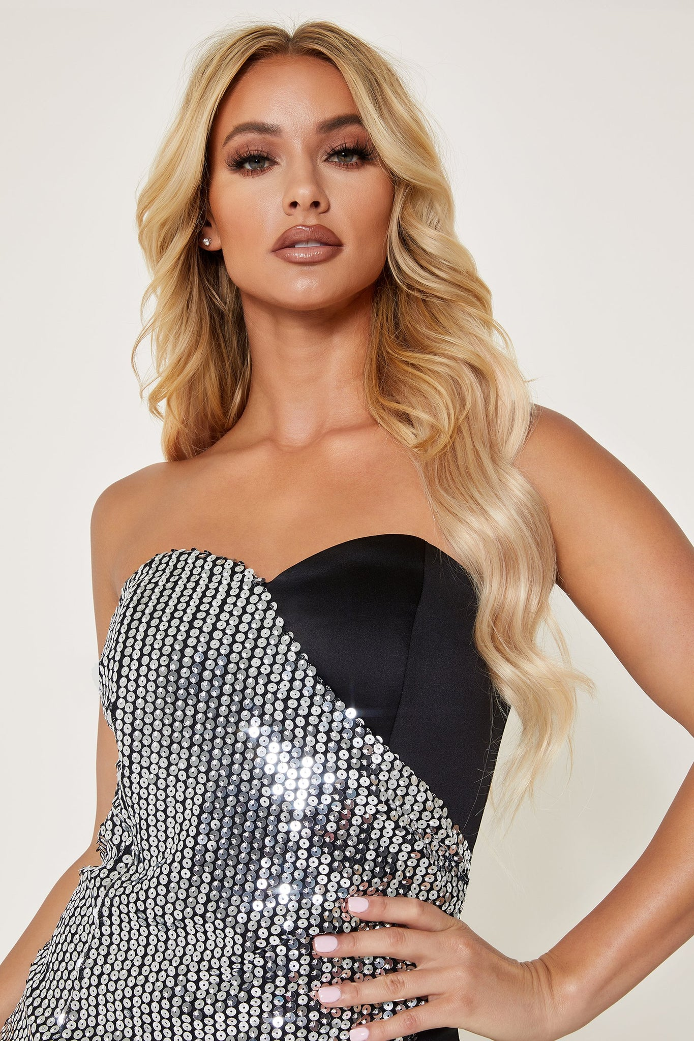 Galiana Mirror Sequin Contrast Strapless Mini Dress - Silver - MESHKI