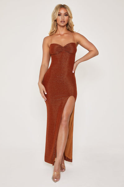 Mabel Lace Up Maxi Dress - Shimmer Orange