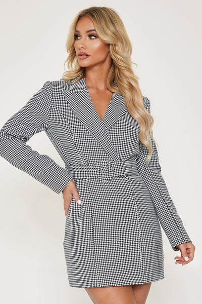 Victoria Double Breasted Blazer Dress - Houndstooth