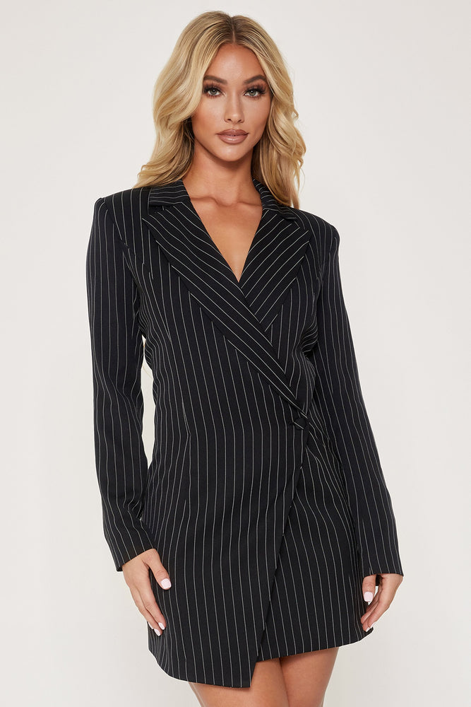 Cornelia Oversized Wrap Blazer Dress - Pinstripe - MESHKI