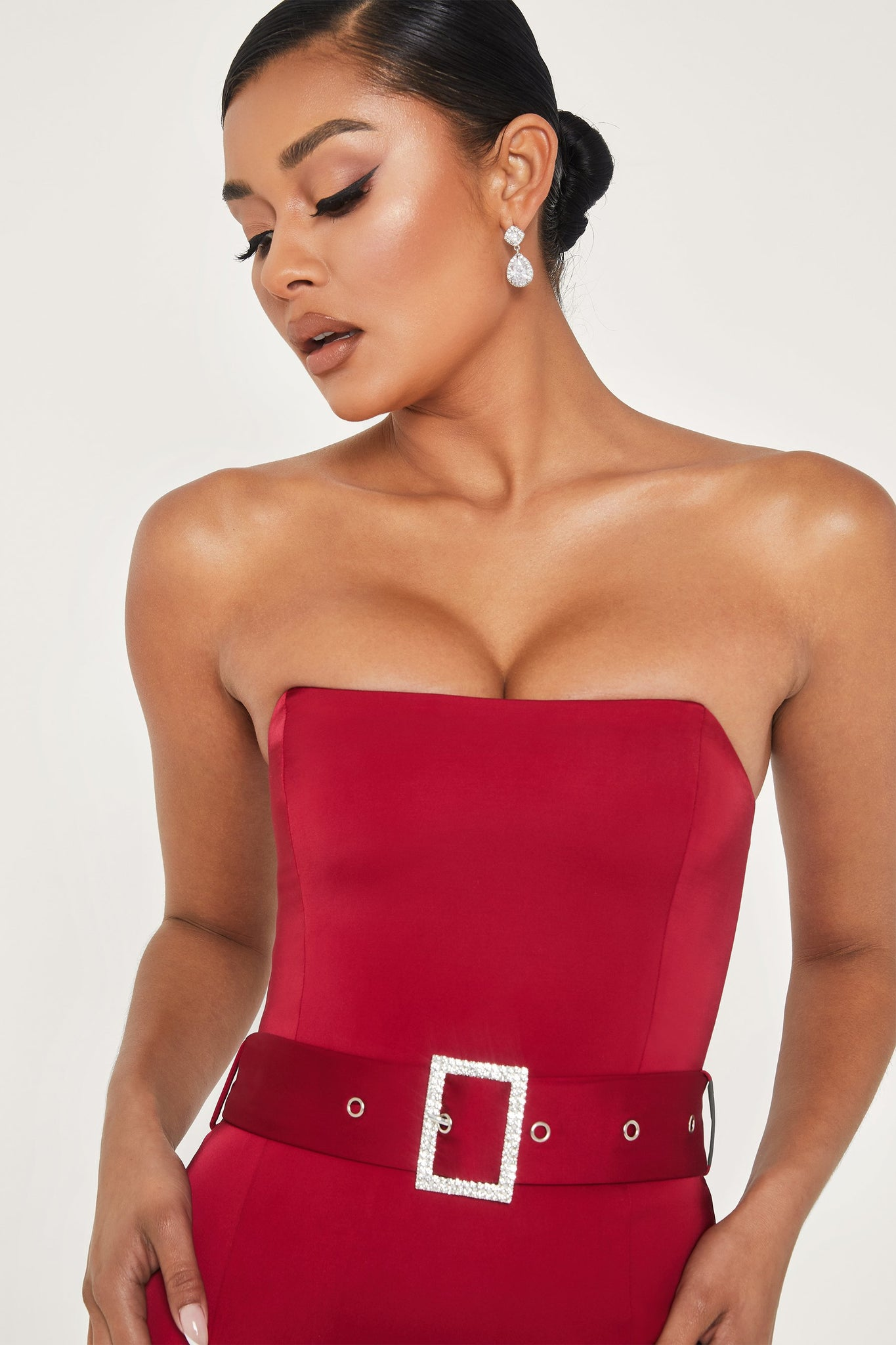 Vanya Strapless Diamante Belt Mini Dress - Burgundy - MESHKI