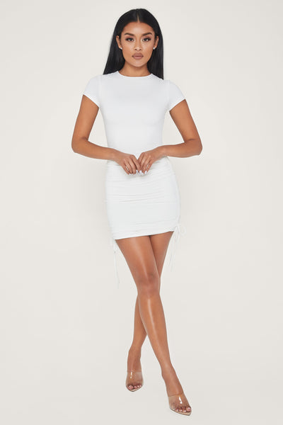 Britta Ruched Side Short Sleeve Mini Dress - White