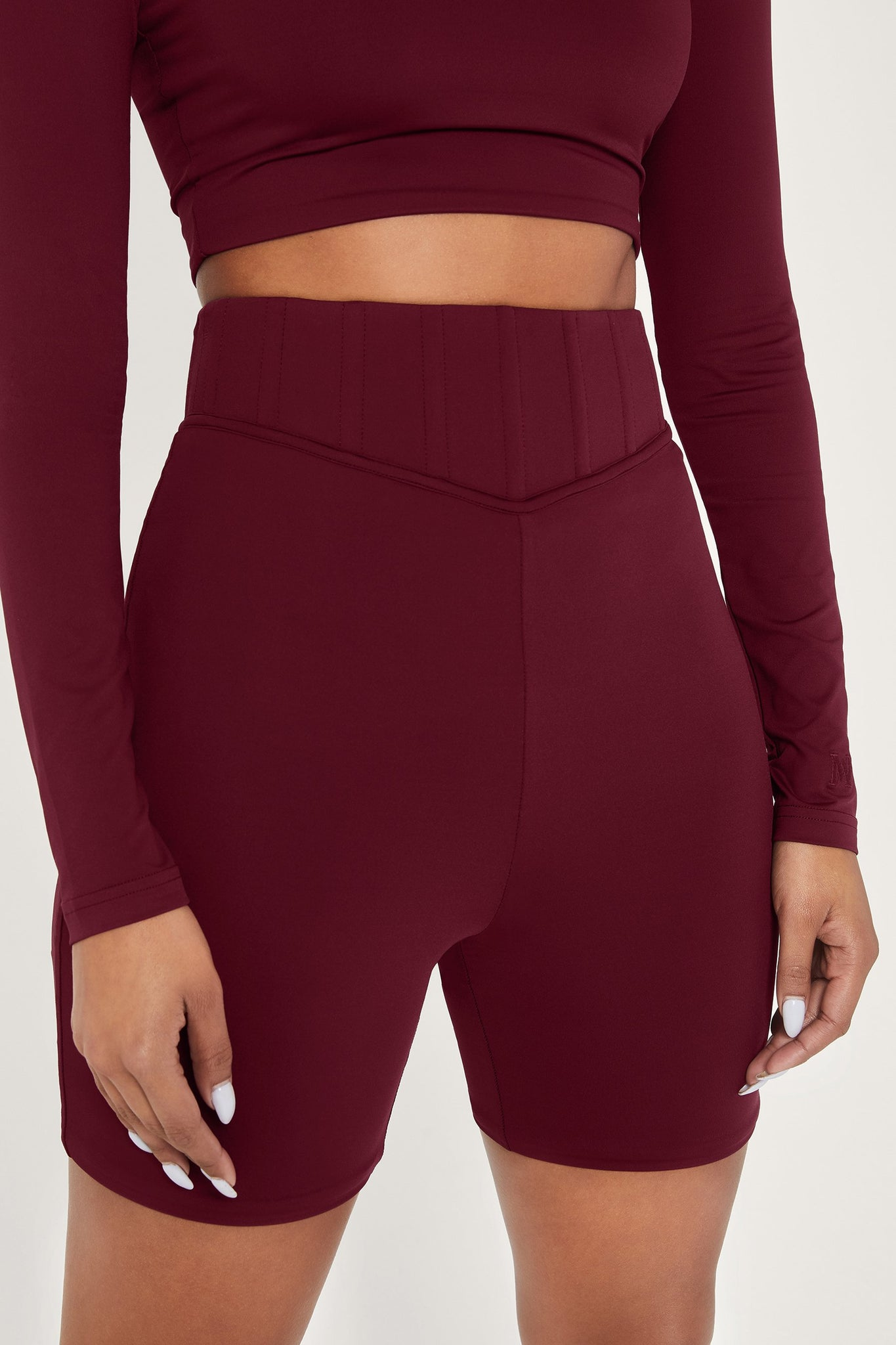 Chaya High Waisted Boned Bike Short - Burgundy - MESHKI
