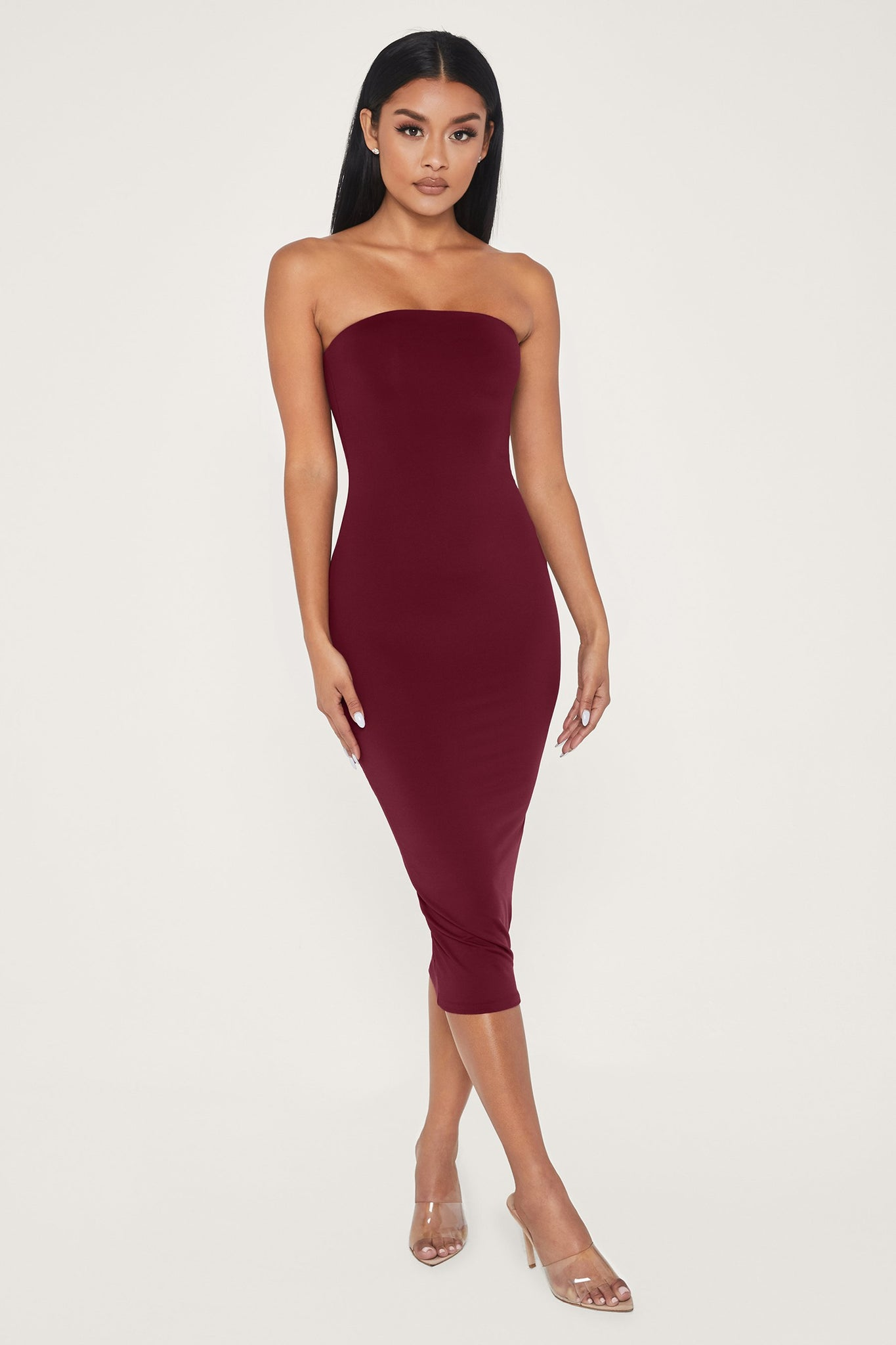 Emilee Strapless Midaxi Dress - Burgundy - MESHKI