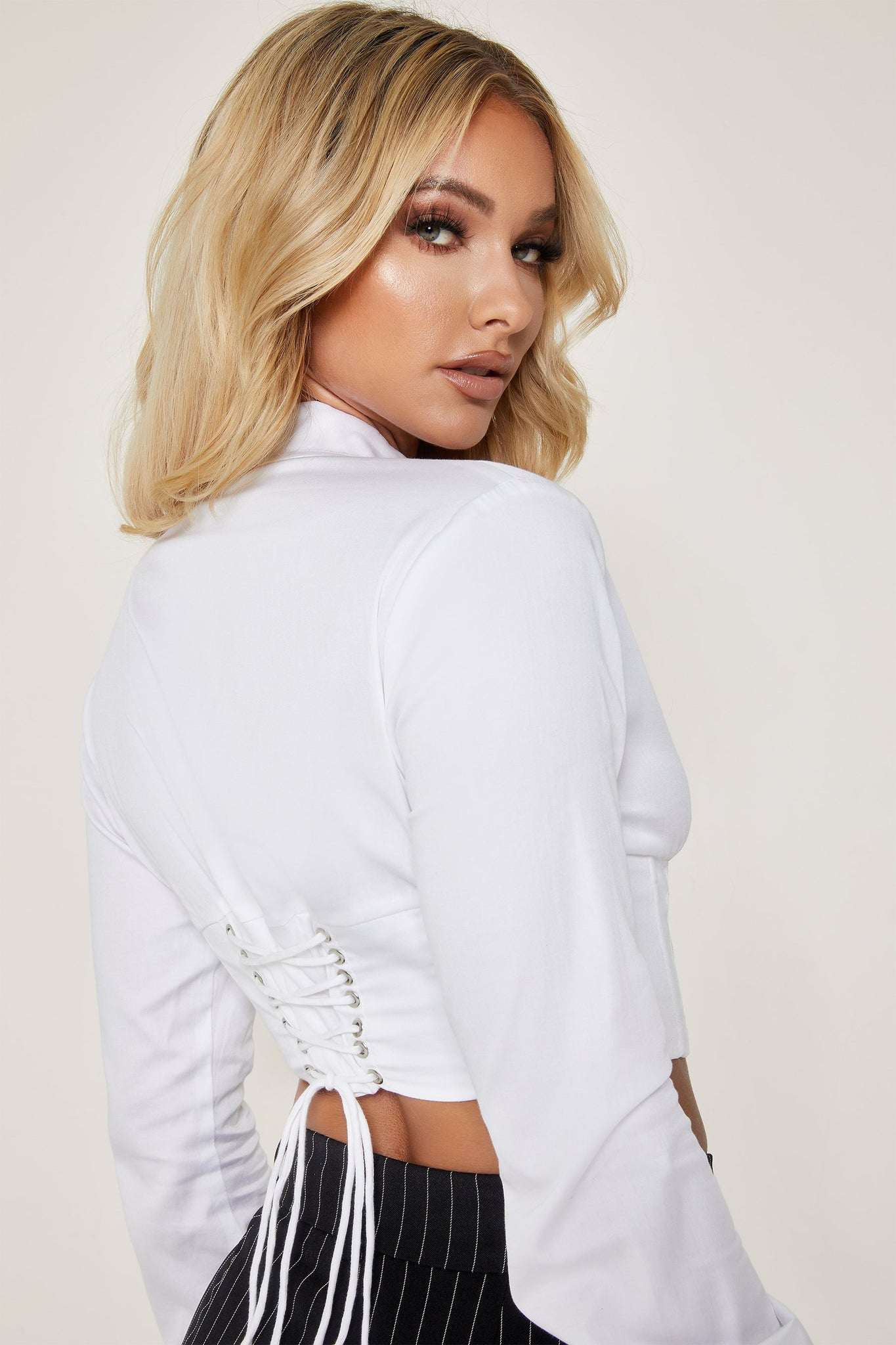 Adaline Long Sleeve Cropped Wrap Shirt - White - MESHKI