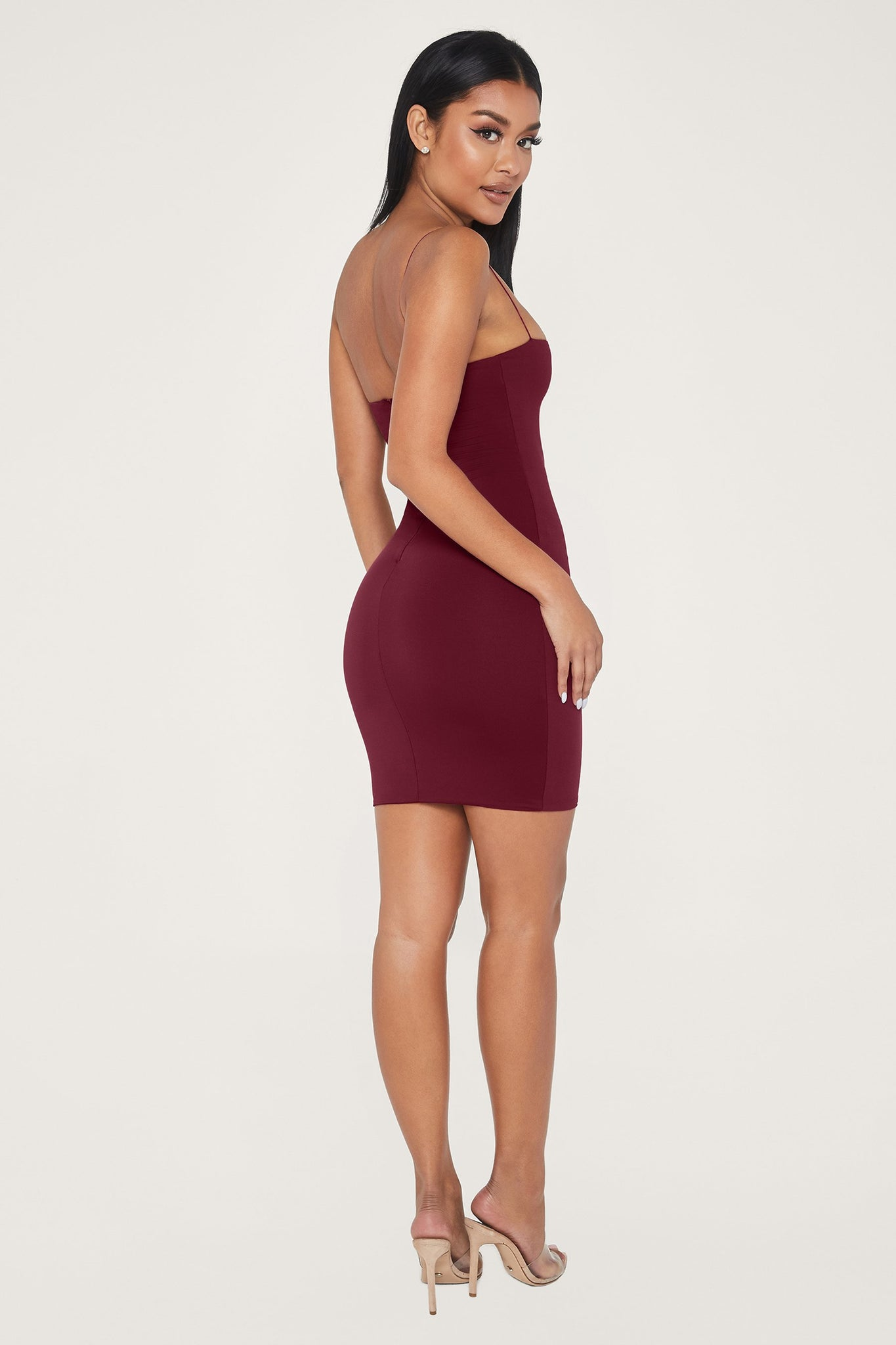 Mia Thin Strap Bodycon Mini Dress - Burgundy - MESHKI