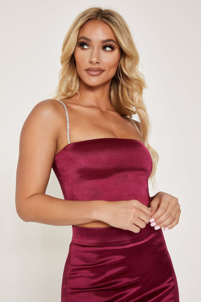 Yvonne Diamante Crop Top - Burgundy