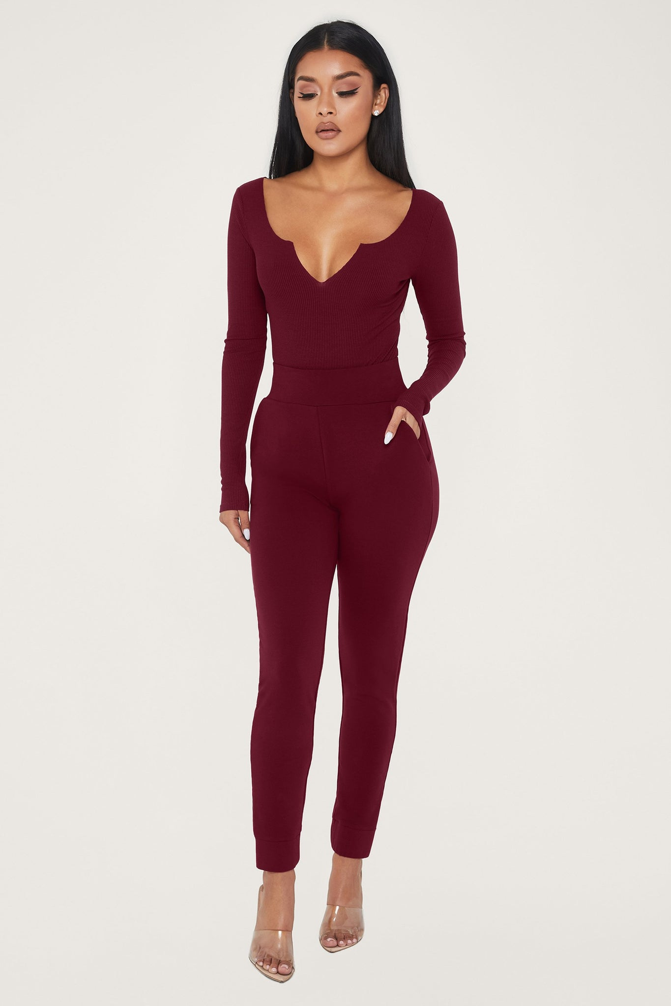 Malene V-Neck Ribbed Long Sleeve Bodysuit - Burgundy - MESHKI